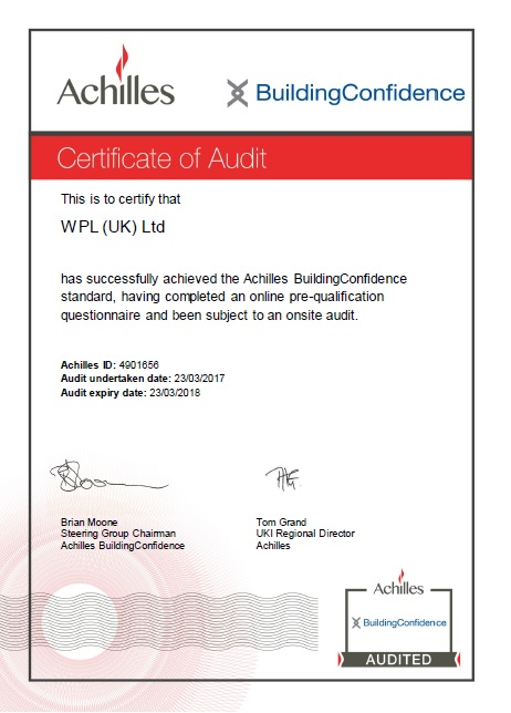 WPLUK Achilles Building Confidence Certificate of Audit to 23rd March 2018 larger image
