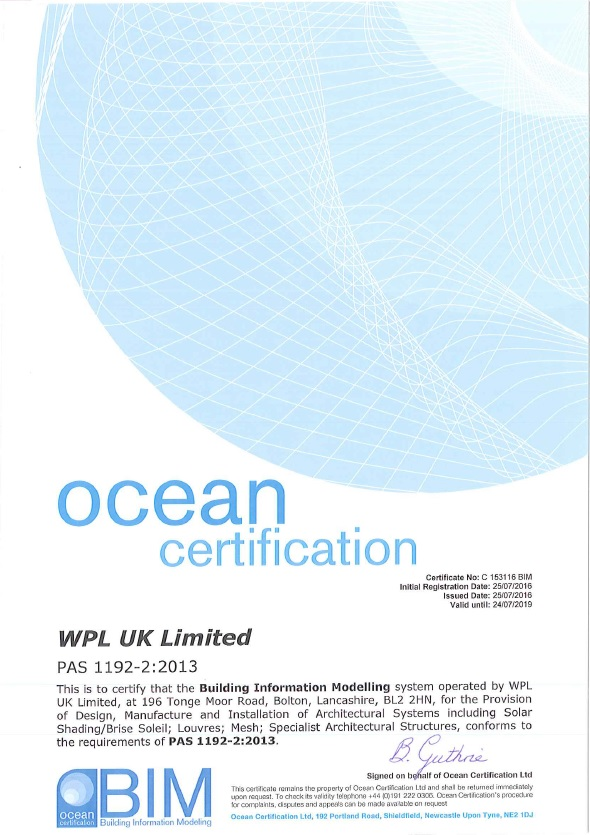 WPLUK BIM Certificate PAS 1192 2013 Level 2 to 24th July 2019 larger image