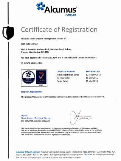 WPLUK BS OHSAS 18001 2007 Certification to 18th May 2019 larger image