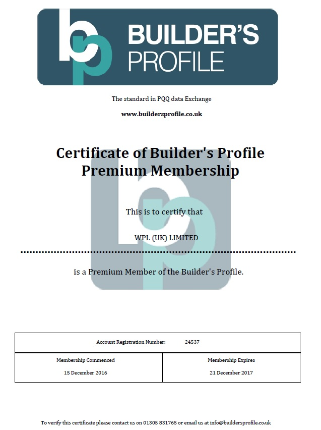 WPLUK Builder's Profile Premium Membership Certificate to 21st December 2017