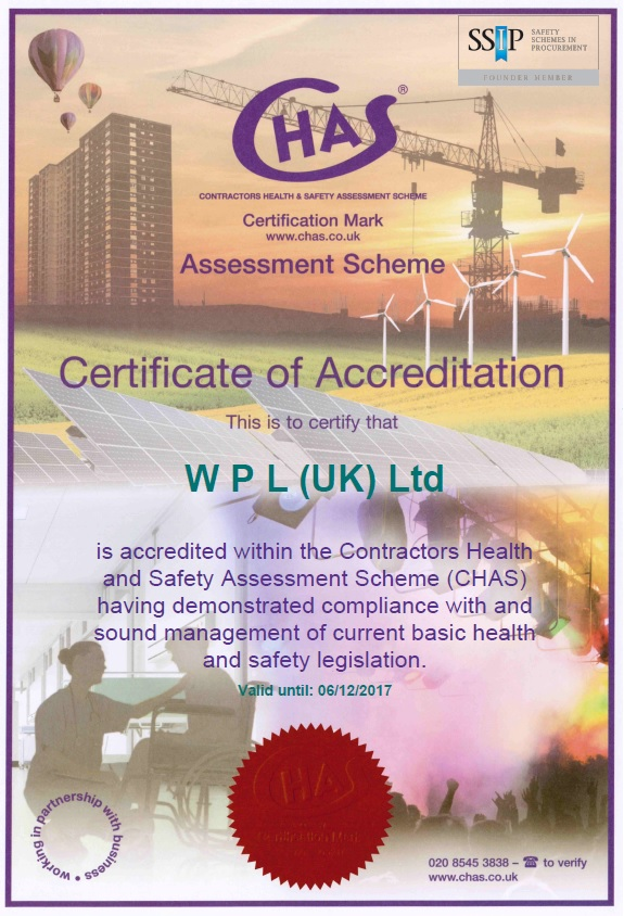WPLUK CHAS Certificate to 6th December 2017