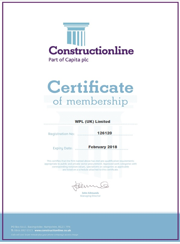 WPLUK Constructionline Certificate to February 2018 larger image