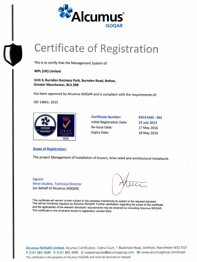 WPLUK ISO14001 2015 Certification to 18th May 2019