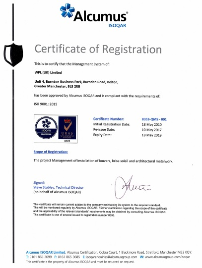 WPLUK ISO9001 2015 Certification to 18th May 2019
