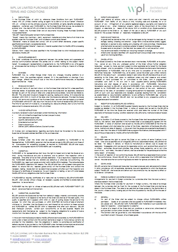 WPLUK Purchase Order - Terms and Conditions as at 28th March 2017 Updated larger image