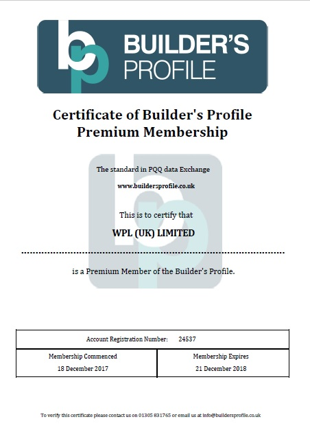 WPLUK Builder's Profile Premium Membership Certificate to 21st December 2018