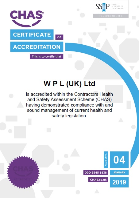 WPLUK CHAS Certificate to 4th January 2019