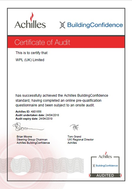 WPLUK Achilles Building Confidence Certificate of Audit to 24th April 2019