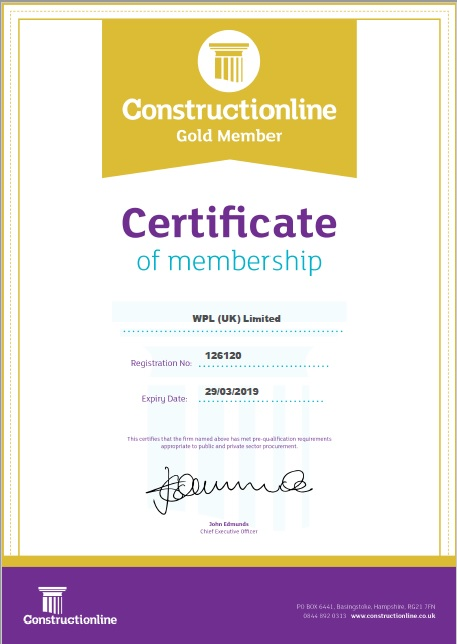 WPLUK Constructionline Certificate to 29th March 2019