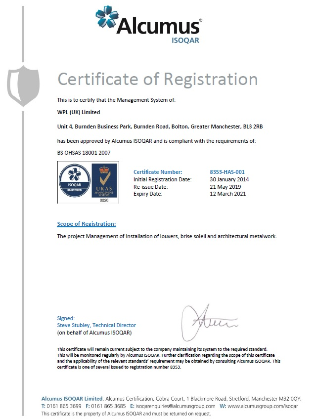 WPLUK BS OHSAS 18001 2007 Certification to 12th March 2021