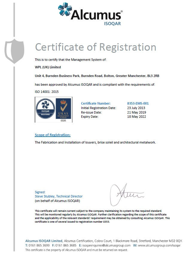 WPLUK ISO14001 2015 Certification to 18th May 2022