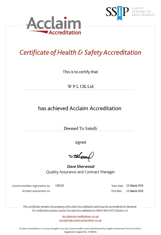 WPLUK SSIP Acclaim Accreditation Deem to Satisfy to 13th March 2020 larger image