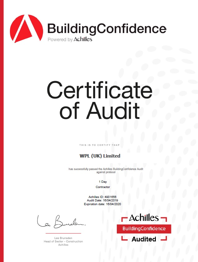 WPLUK Achilles Building Confidence Certificate of Audit to 16h April 2020