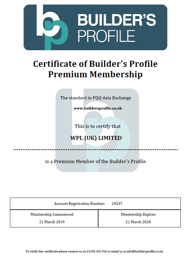 WPLUK Builder's Profile Premium Membership Certificate to 21st March 2020