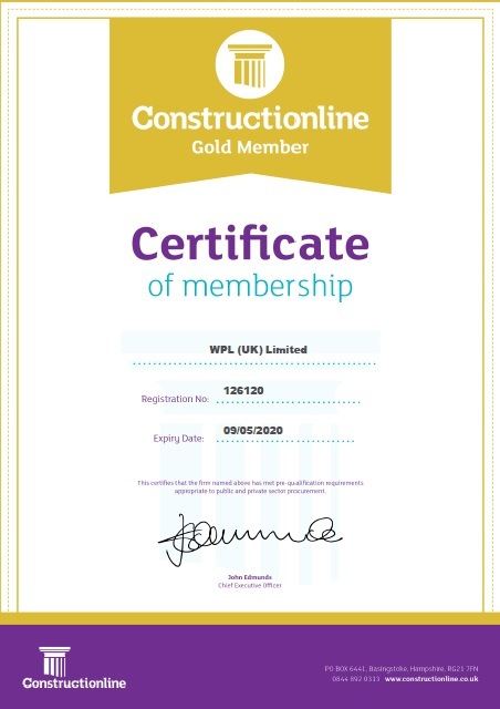 WPLUK Constructionline GOLD Certificate to 9th May 2020