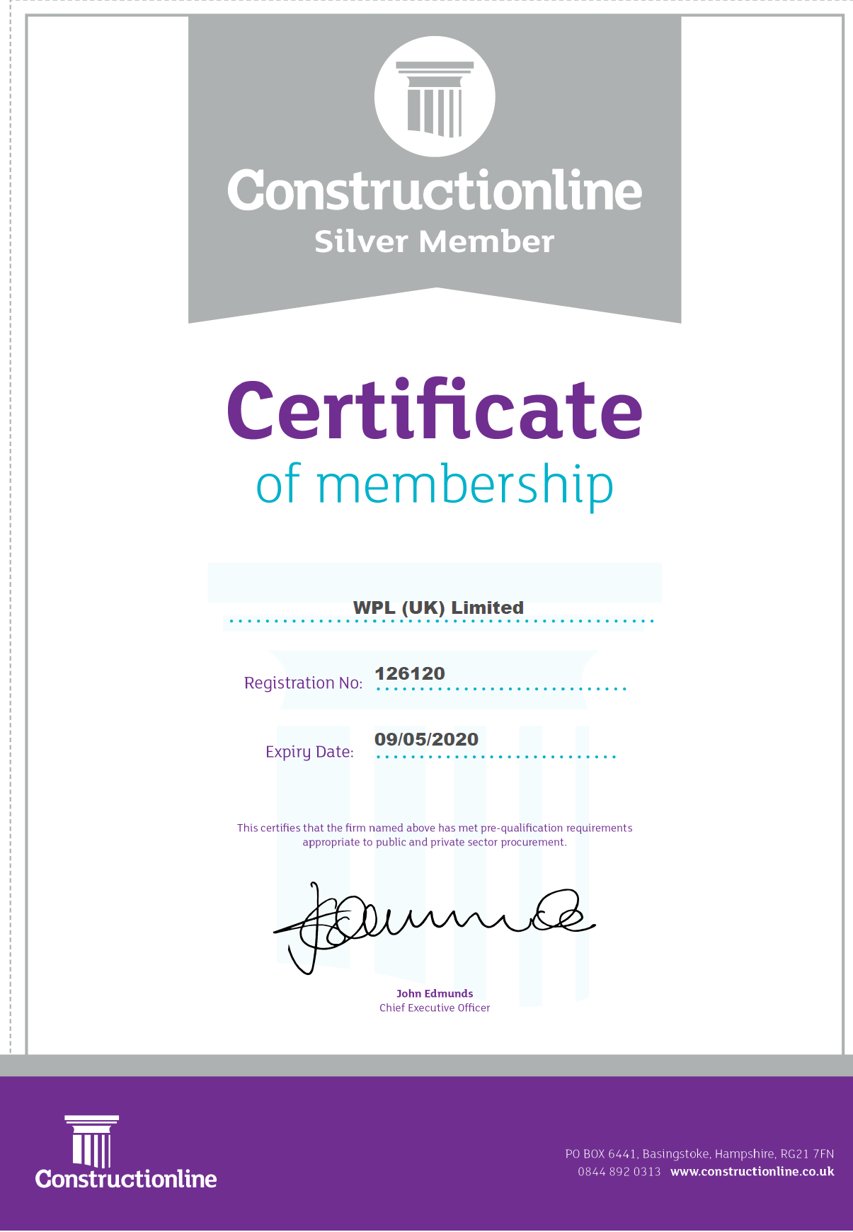 WPLUK Constructionline SILVER Certificate to 9th May 2020