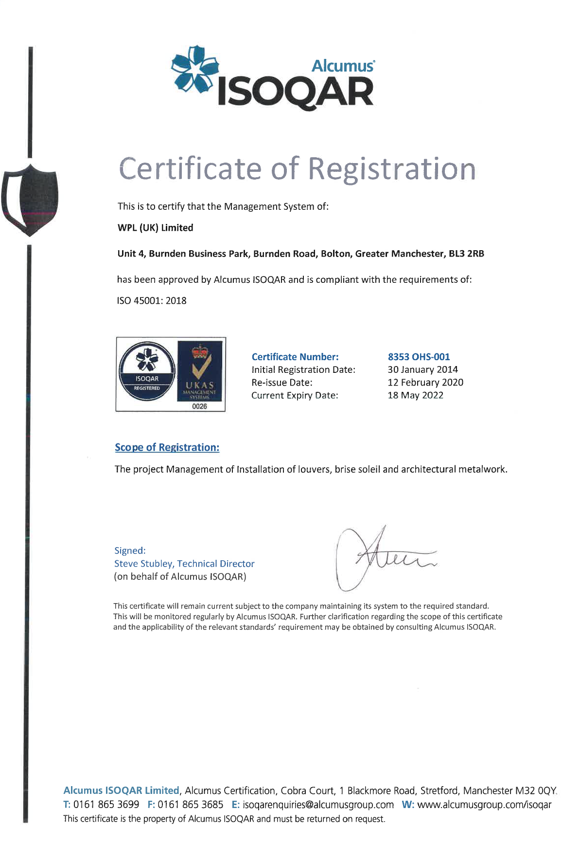 WPLUK ISO 45001 2018 Certification to 18th May 2022