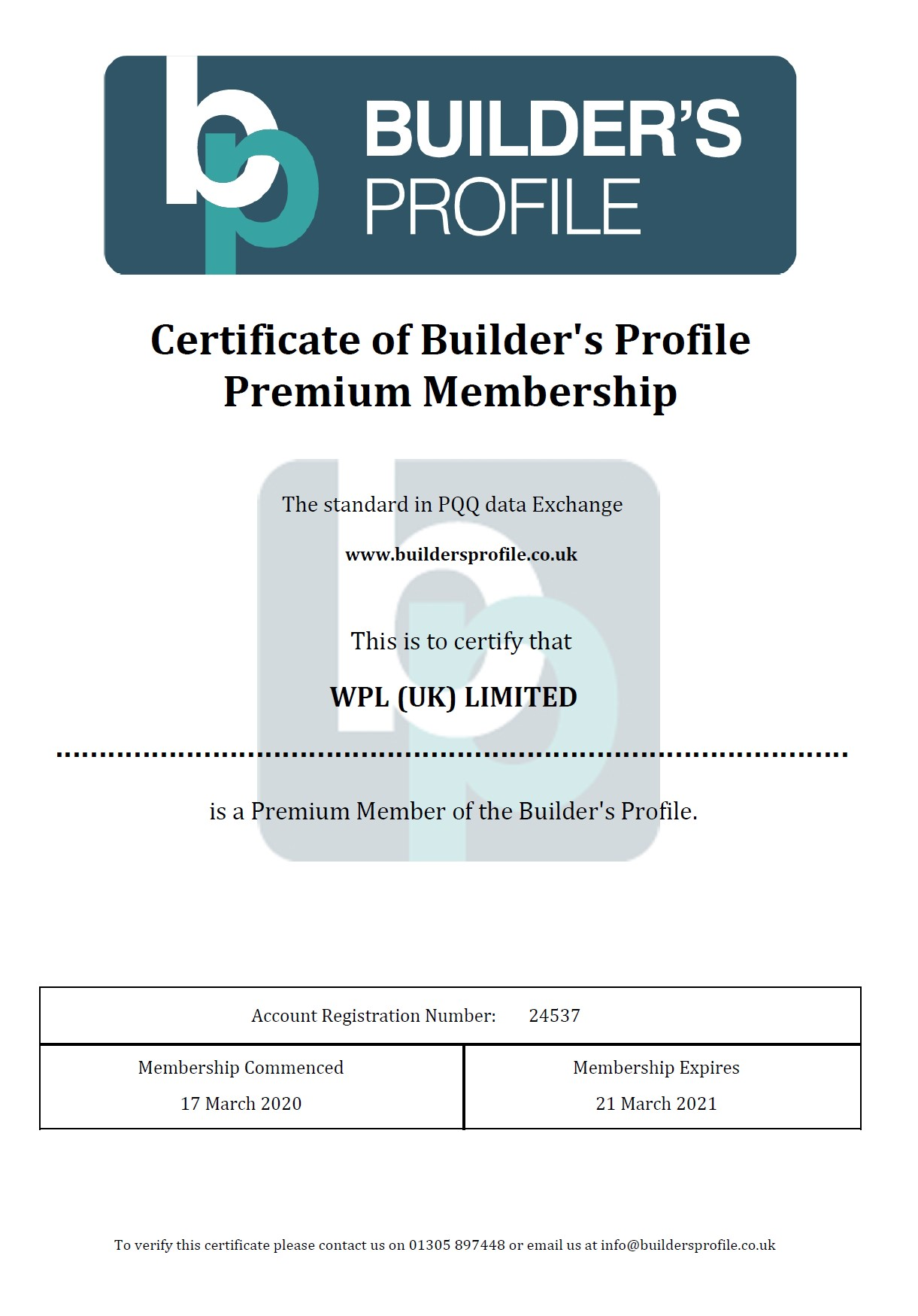 WPLUK Builder's Profile Premium Membership Certificate to 21st March 2021