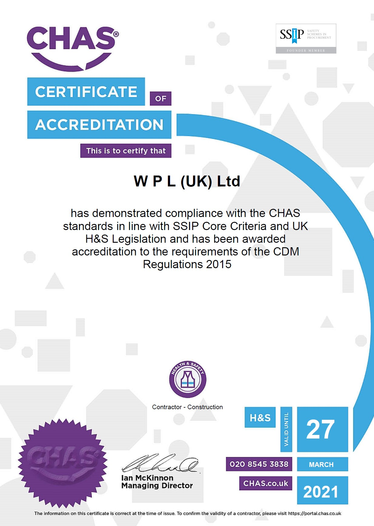 WPLUK CHAS Certificate to 27th March 2021