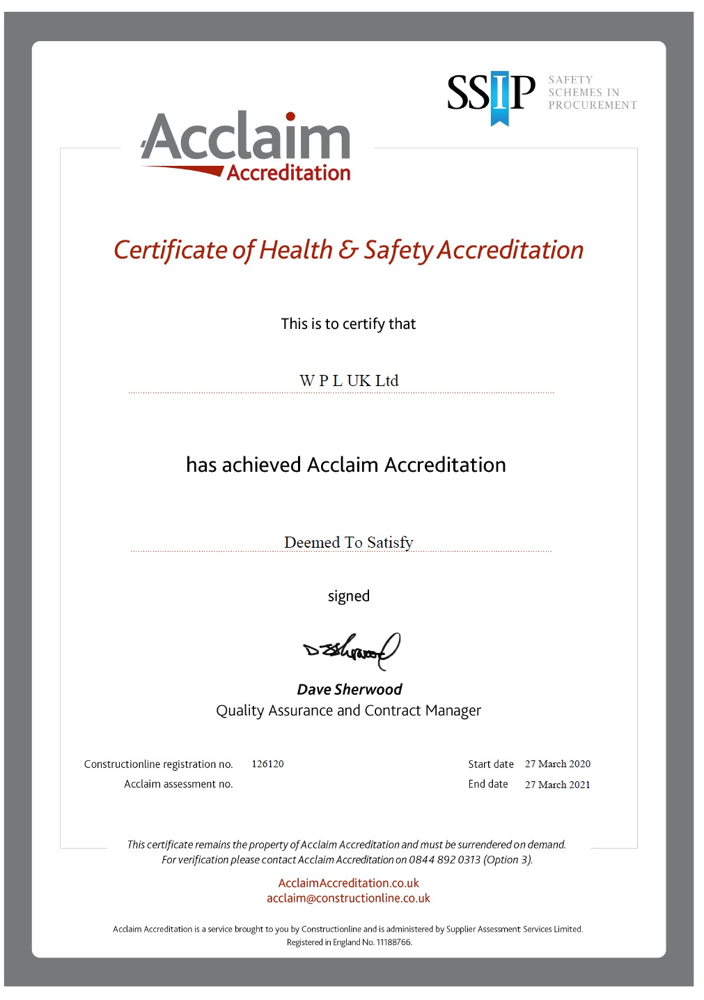 WPLUK SSIP Acclaim Accreditation Deem to Satisfy to 27th March 2021