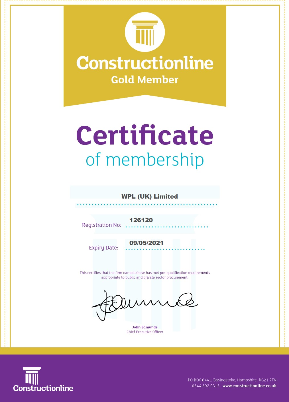 WPLUK Constructionline GOLD Certificate to 9th May 2021