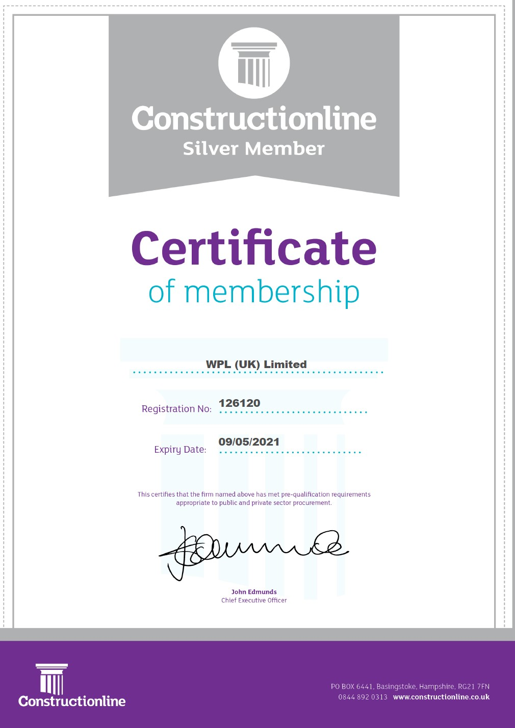 WPLUK Constructionline SILVER Certificate to 9th May 2021