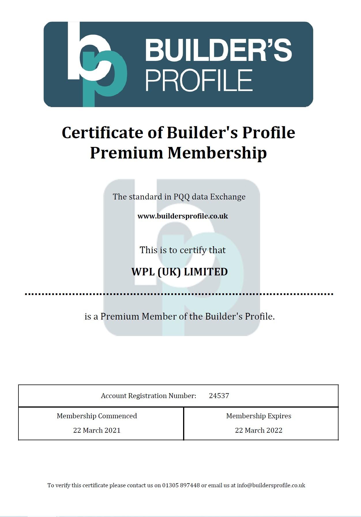 WPLUK Builder's Profile Premium Membership Certificate to 22nd March 2022