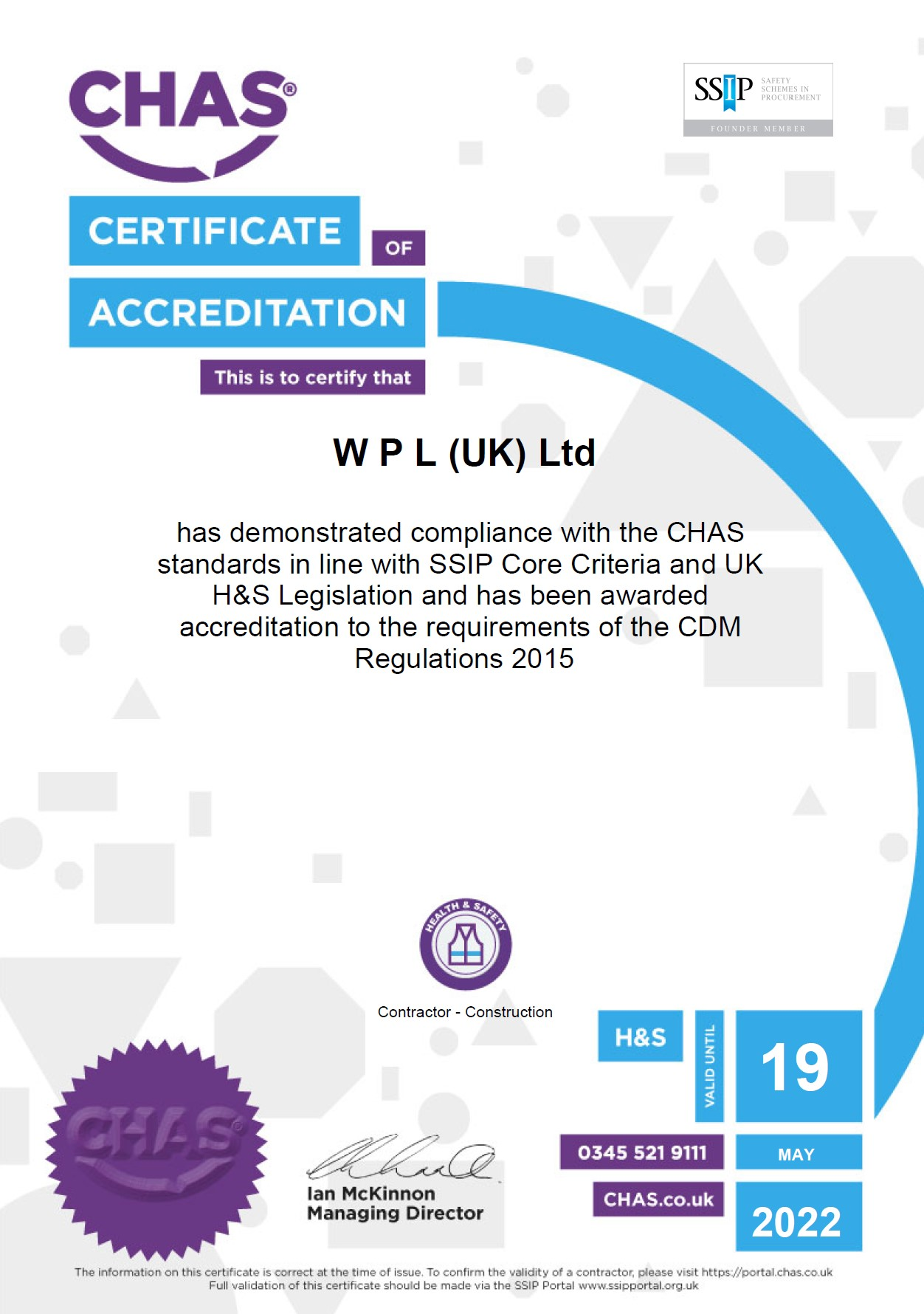 WPLUK CHAS SSIP Certification to 19th May 2022