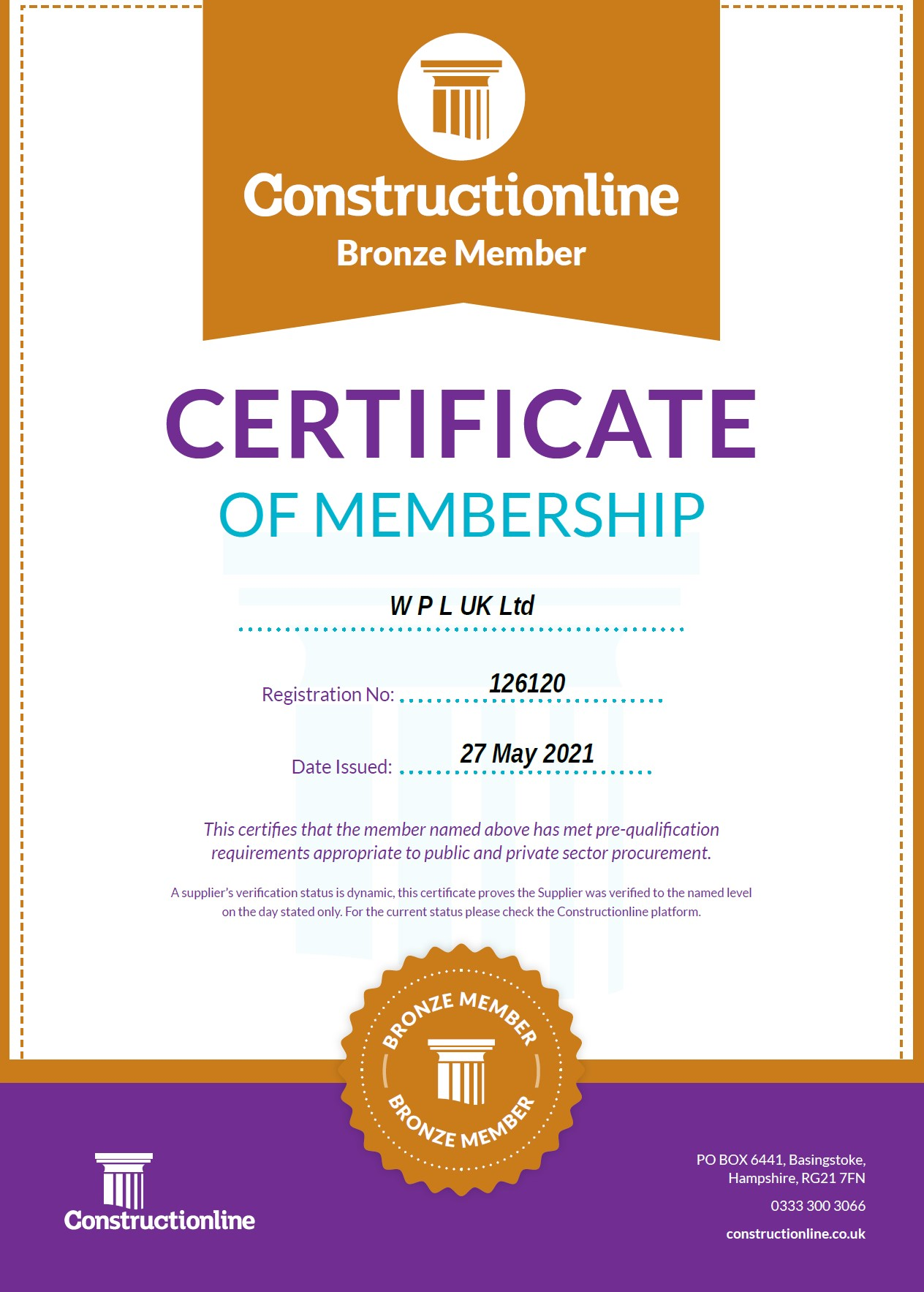 WPLUK Constructionline BRONZE Certificate Issued 27th May 2021