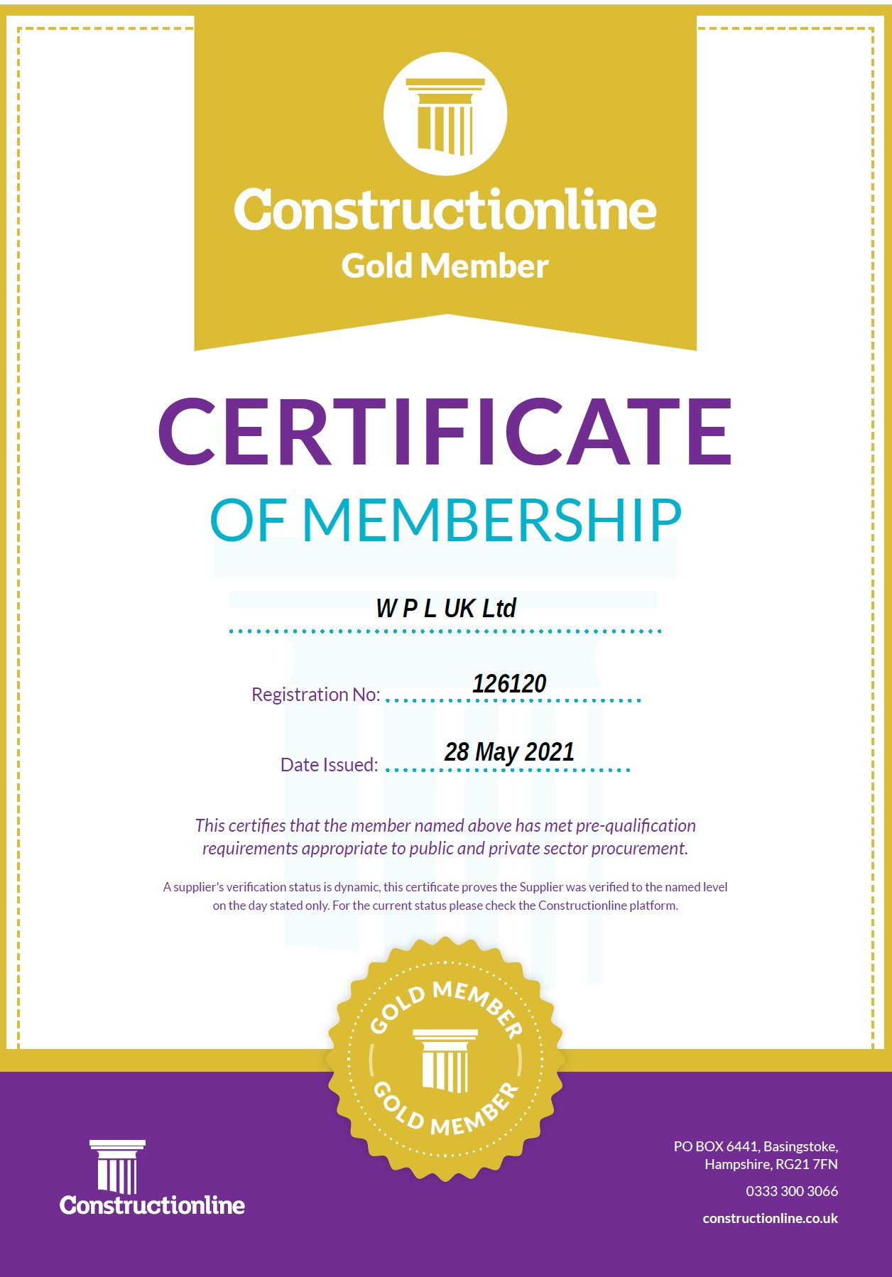 WPLUK Constructionline GOLD Certificate Issued 28th May 2021