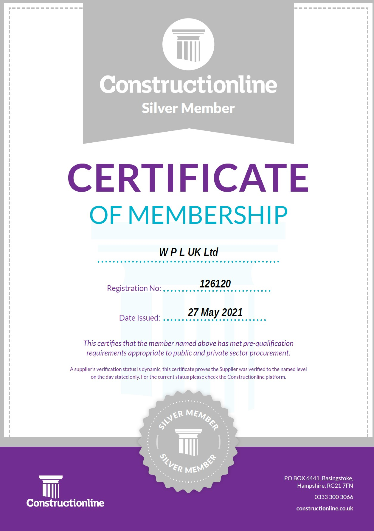 WPLUK Constructionline SILVER Certificate Issued 27th May 2021