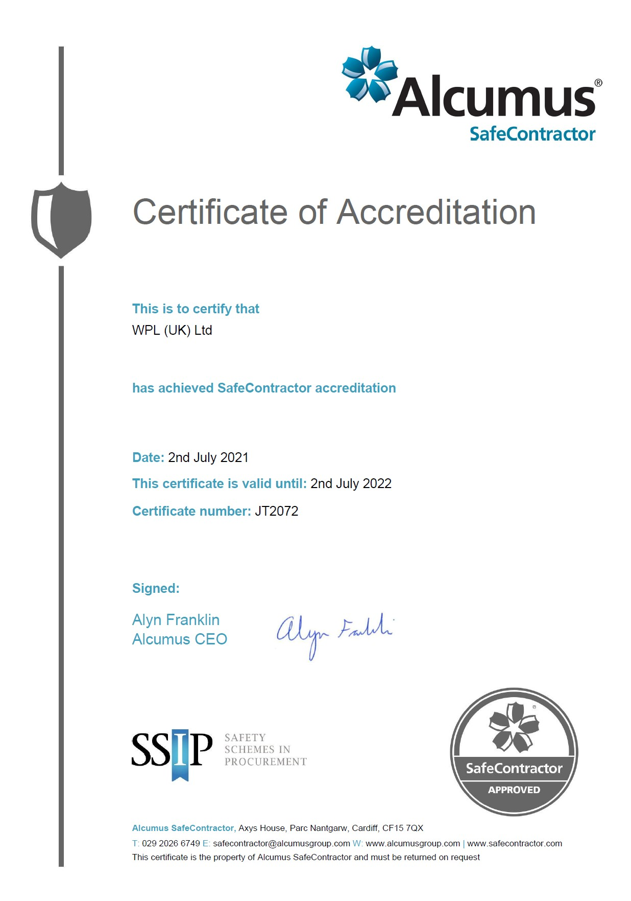 WPLUK SafeContractor to 2nd July 2022
